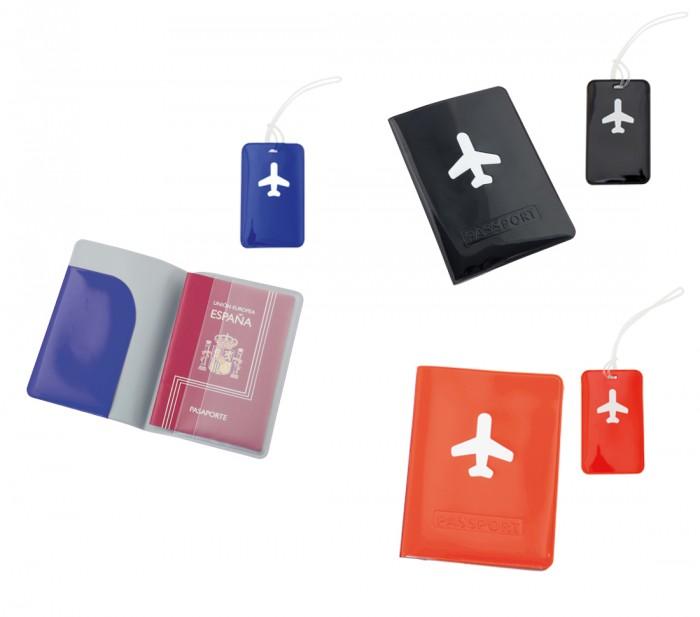 Set Tag Valigia e Porta Passaporto Design Aereo