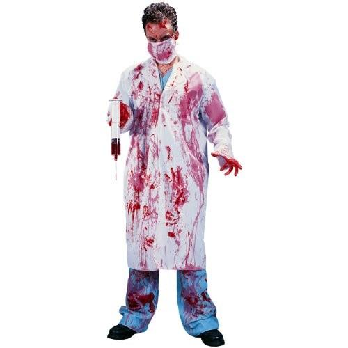 Costume da Dottore Pazzo camice insanguinato e accessori