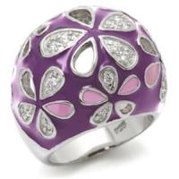 Silver Plated Purple Enamel With Flower Ring - Fantasyard ...