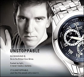 """Eli Manning """"Unstoppable"""" Ad Courtesy of Citizen Watches (via Sports Illustrated)"""