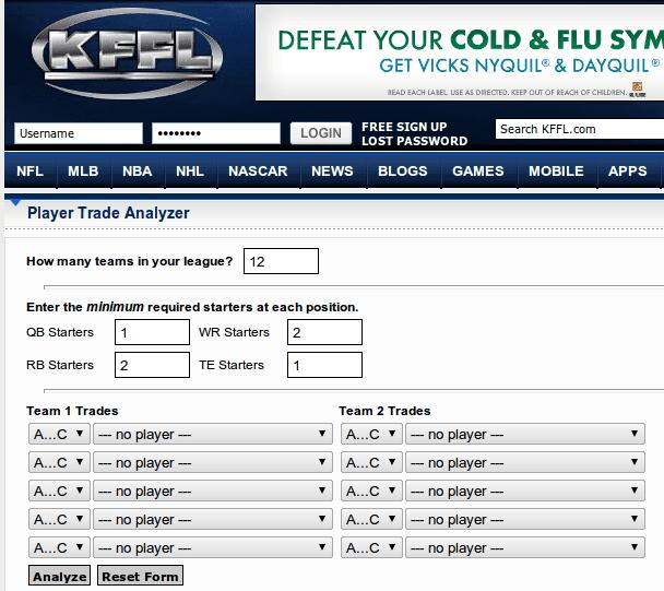 KFFL Fantasy Football Trade Analyzer