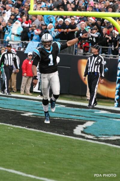 Cam Newton after scoring a touchdown
