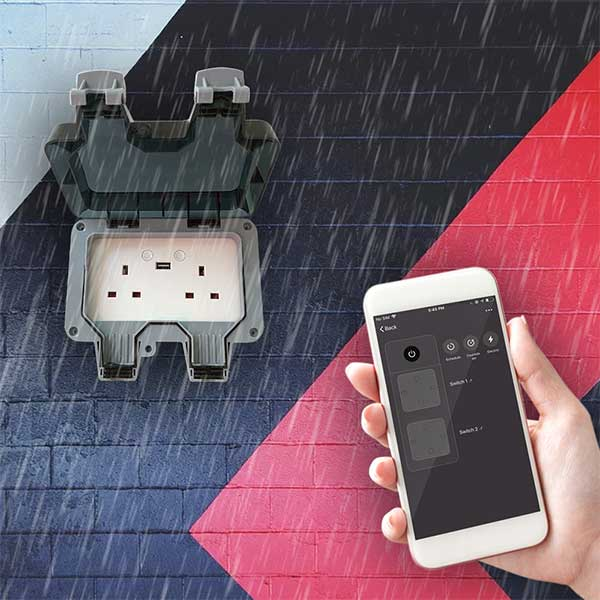 WATERPROOF 13A WiFi Twin Wall Sockets with 2 USB Ports 6