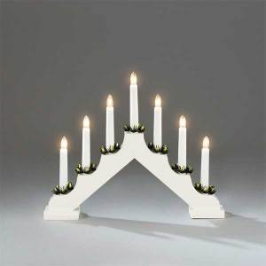 7 Lights White Wooden Candlestick