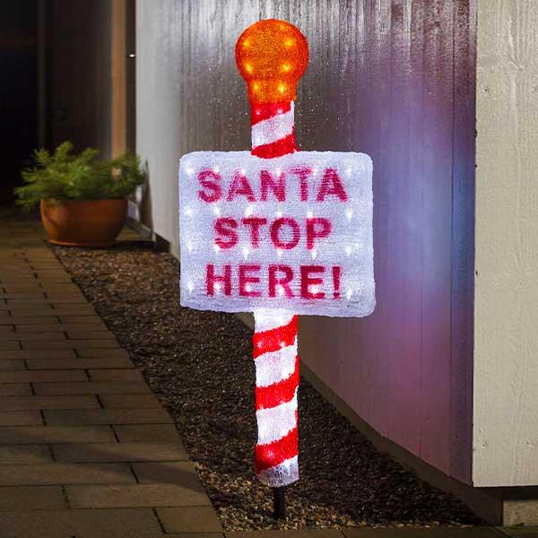 LED Santa Stop Here Sign