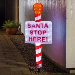 LED Santa Stop Here Sign