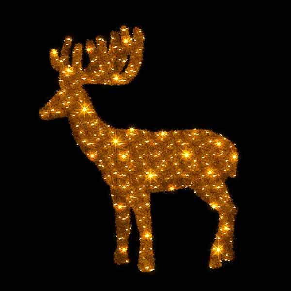 3D Gold Christmas Reindeer