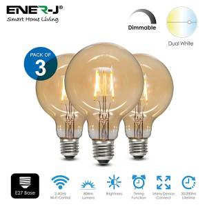 Combine modern day technology with classic looks using this round golden LED E27 bulb. Set this dimmable filament bulb to warm white light colour for comfortable and cosy relaxing atmosphere. Mix technology with classic style using the dimmable filament LED light bulb. Create your own cosy home like atmosphere warm light setting of the E27 Edison screw bulb. These golden E27 Edison screw bulb with 125 mm in diameter look stylish hanging above your kitchen island or coffee table in the living room. EASY TO CONTROL: Change the brightness the dimmable filament LED bulb remotely – via your smartphone or tablet, using free ENERJSMART App for Android or iOS without subscription. The E27 LED bulb supports voice control – via Amazon Alexa or Google Home. You don't need a separate hub, since the smart LED light bulb connects directly to your Wi-Fi router. You don't need to stand up from your comfortable sofa to turn the light off, just relax! PROGRAM AND COMBINE: Even if you forget to turn off the light, don't come back! Schedule your E27 Edison screw bulb to go off at 9 am or to switch on at 7 pm or as the TV goes off. BRIGHT AND LONG LASTING: The E27 Edison screw bulb made for general lighting. 806 lm of the dimmable LED bulb provide as much light as traditional 60W bulb, and last for 2 years if the light is on all the time. The dimmable filament bulb consumes only 8.5W, when lights are on. Save hundreds of Euro per year with the eco-friendly and energy saving E27 LED bulb.