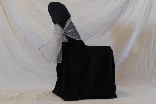 where to buy chair covers in toronto sure fit dining australia wedding cover rentals north york folding black with silver bow