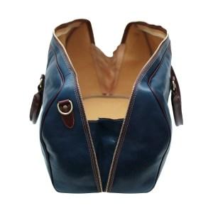 Compartimenti interni borsone blu marrone in pelle da viaggio bagaglio a mano in pelle borsa palestra cuoio Made in Italy