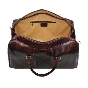 Compartimenti interni borsone in pelle marrone da viaggio bagaglio a mano in pelle borsa palestra cuoio Made in Italy
