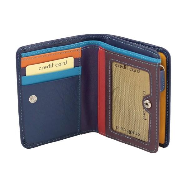 Portafoglio piccolo donna apertura bottone vera pelle multicolore compartimenti carte credito blu