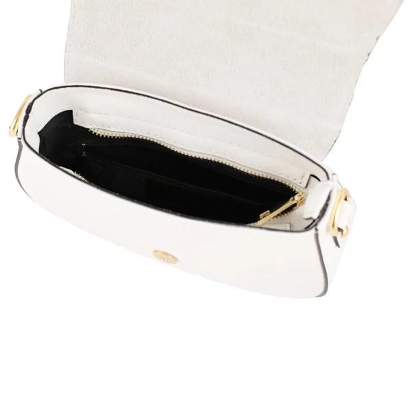 Borsetta a tracolla in pelle bianca made in italy scompartimenti interni