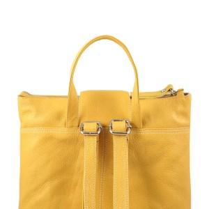 Retro Zaino donna in pelle giallo bretelle in pelle
