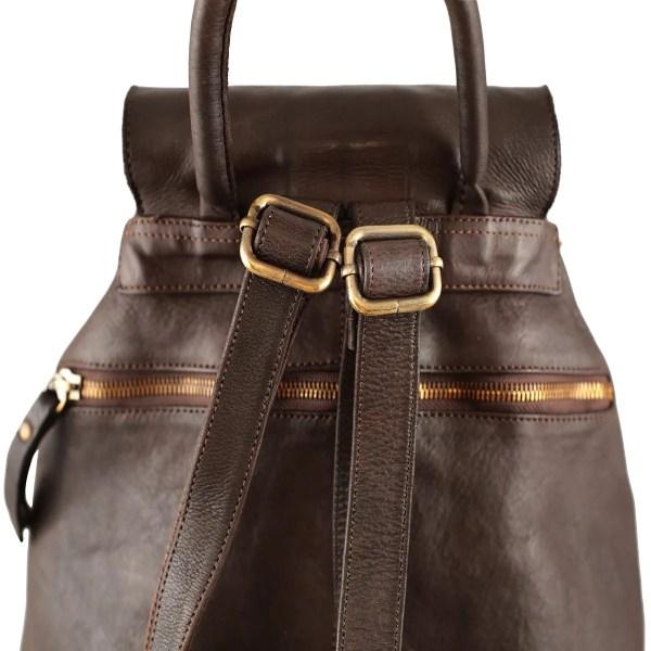 Retro zaino in pelle marrone scuro con tasca esterna Made in Italy
