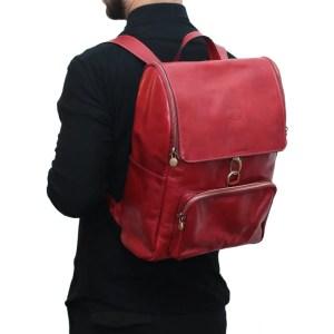 Zaino in pelle artigianale rosso Made in Italy rosso zaino uomo per lavoro e computer con fibbie frontali