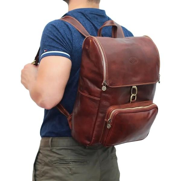 Zaino in cuoio Made in Italy marrone zaino uomo per lavoro e computer con gancio pelle artigianale