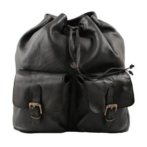 Zaino in pelle lavata vintage nero Made in Italy con tasche esterne apertura con coulisse