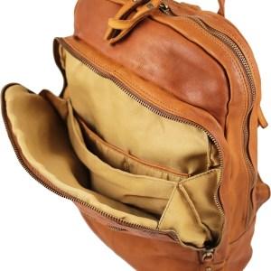 Zaino marrone chiaro in pelle scompartimenti interni per computer zaino vintage