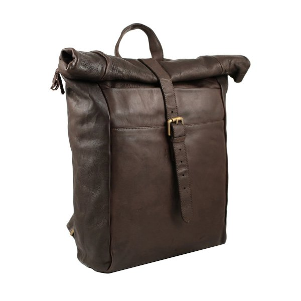 Zaino chiusura arrotolata da viaggio in pelle lavata marrone scuro made in italy Fantini Pelletteria