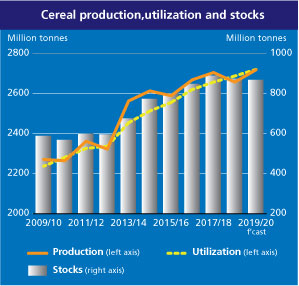 Amid generally well supplied cereal markets, early indications point to a near-record wheat production in 2020