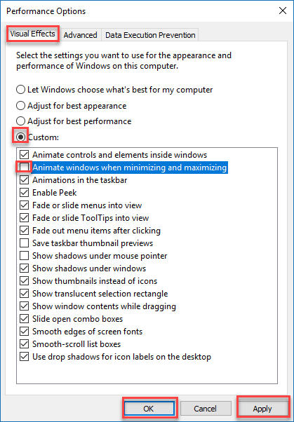 How to disable Window Minimize and Maximize Windows 10 Animations