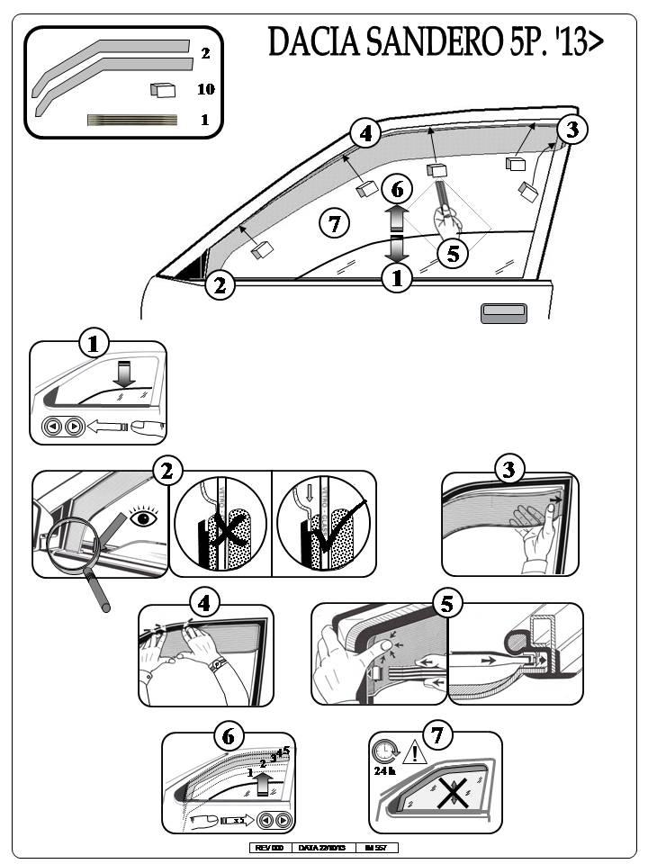 Deflettori d'aria per portiere anteriori