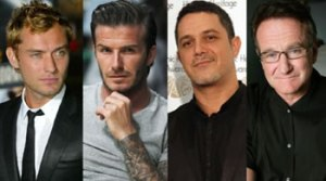 David Beckham, Alejandro Sanz, Arnold Schwarzenegger, Robin Williams, Jude Law