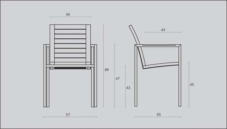 Teak and Stainless Steel Modern Stacking Garden Chairs