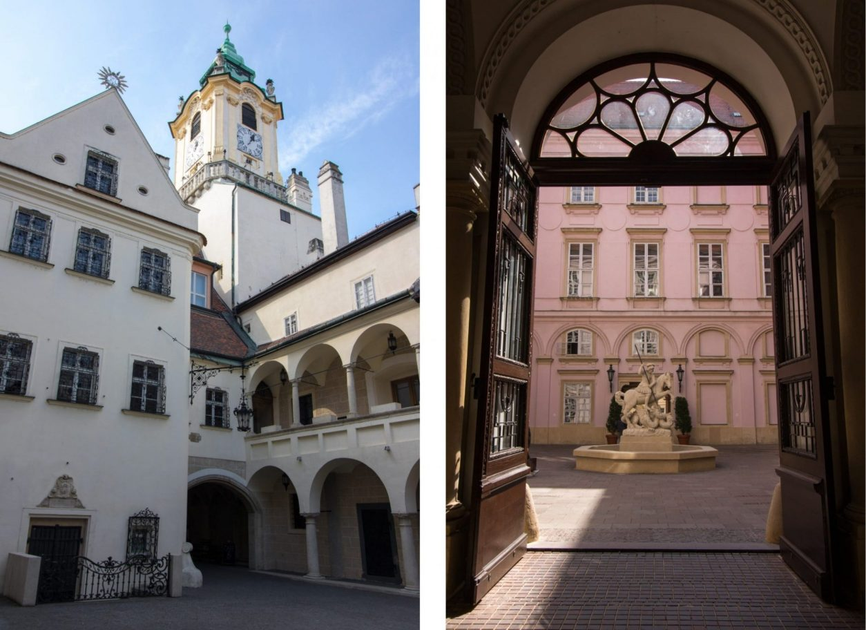 bratislava-old-town-hall-and-tower-beautiful-white-european-building-with-a-pink-courtyard