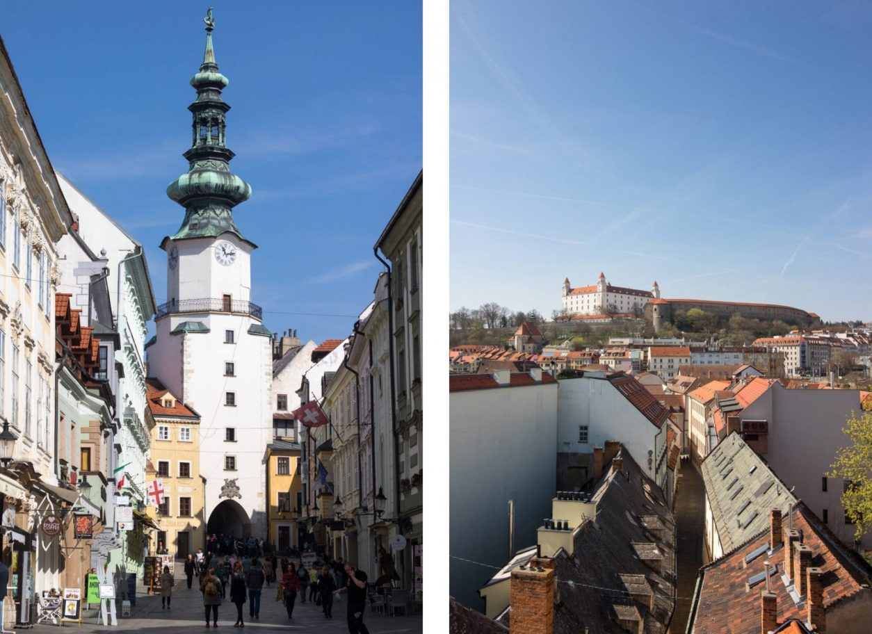 michaels-gate-tower-in-the-centre-of-bratislava-at-the-end-of-a-colourful-street-of-buildings-and-view-from-michaels-gate-tower-towards-bratislava-castle