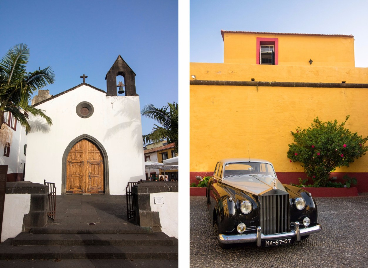 white-church-and-old-car-against-yellow-building-in-funchal-old-town