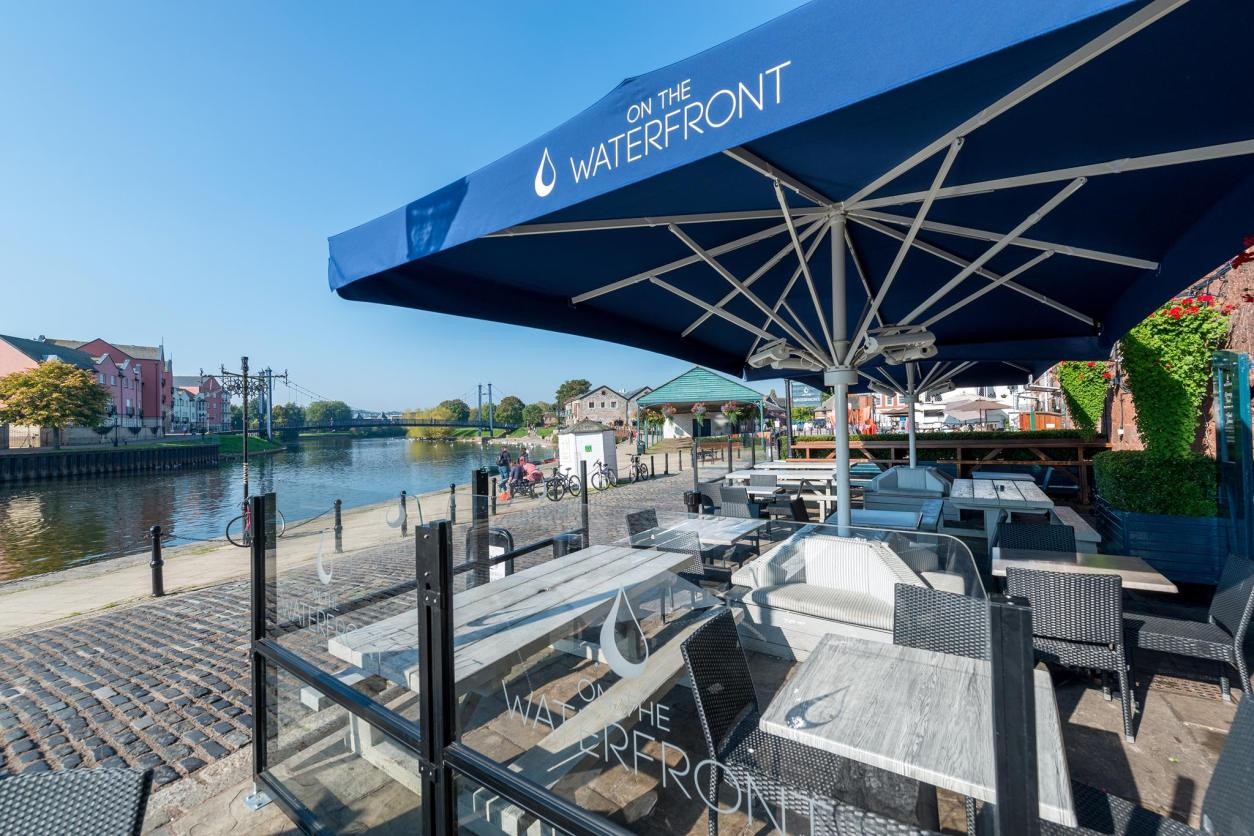 On The Waterfront Exeter quay quayside water al fresco dining Exeter Restaurants