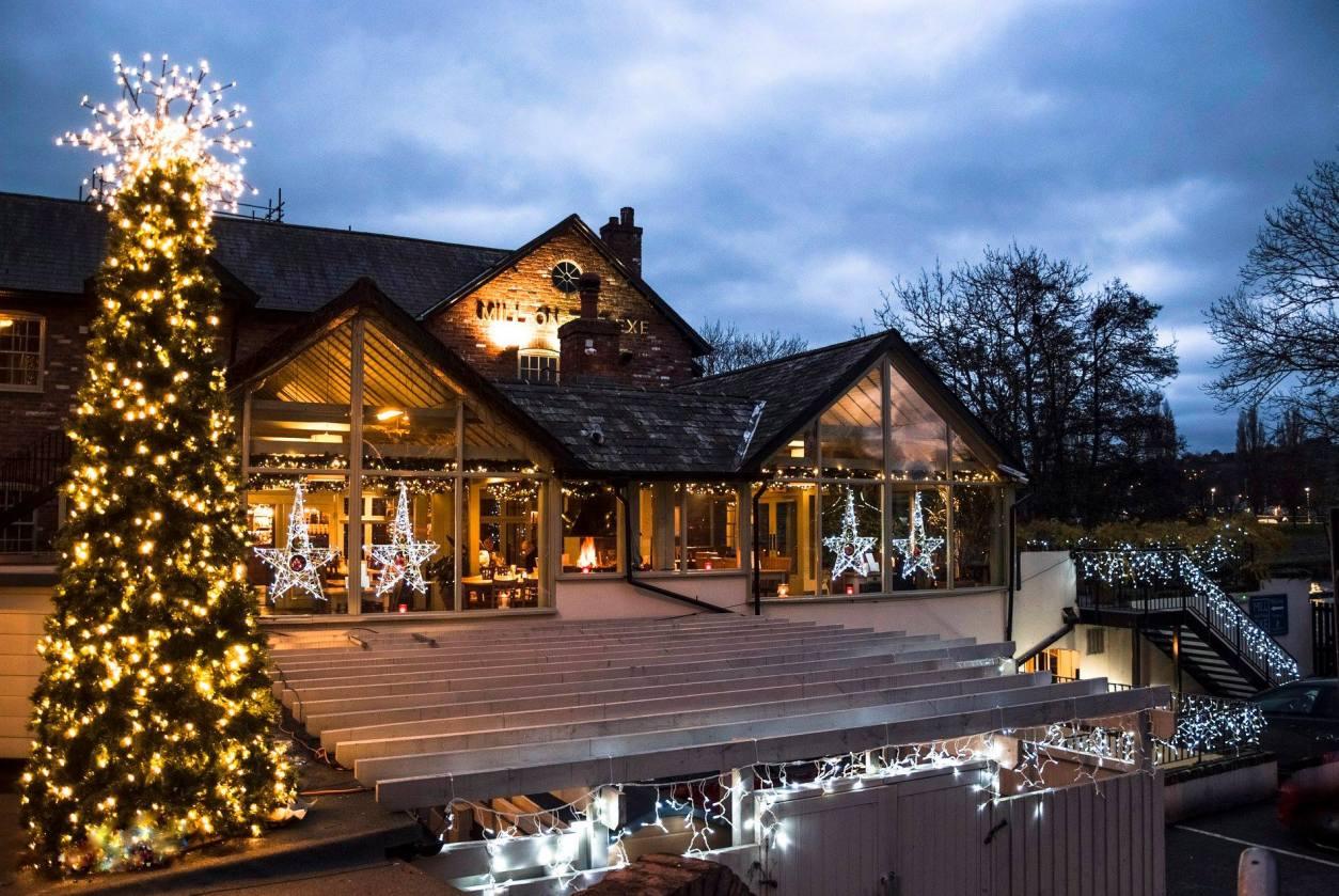 Mill on the Exe christmas restaurant christmas tree fairy lights Exeter Restaurants