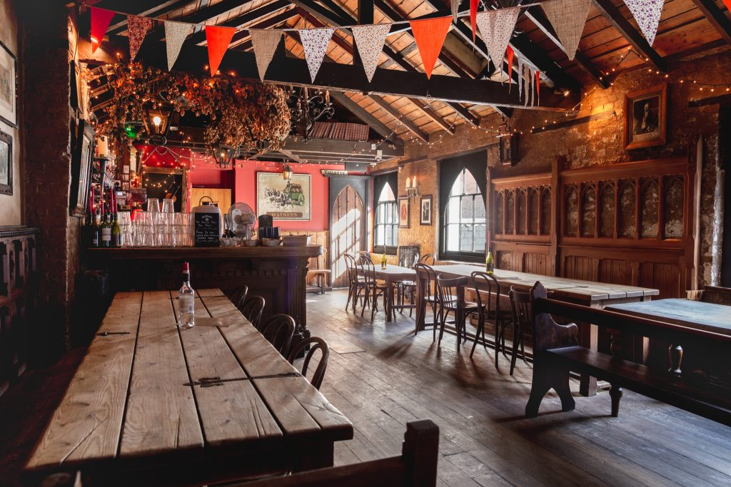 The Old Firehouse The Leaky Cauldron J.K. Rowling Harry Potter bunting fairy lights cute rustic pub Exeter Restaurants