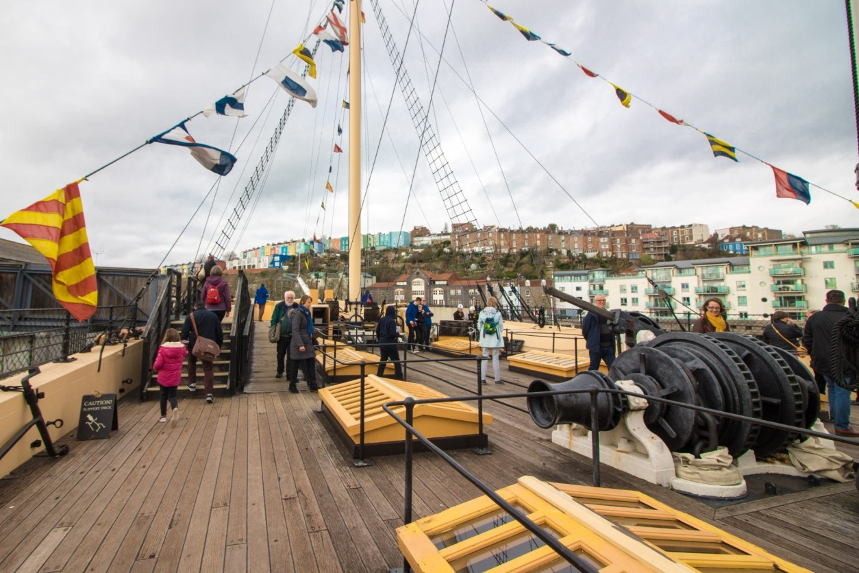 Brunel's SS Great Britain. Ship. Pirate ship. Boat. Masts. Colourful flags. Canon. How to Spend the Perfect Day on Bristol Harbourside. What to do on Bristol Harbourside. Bristol UK. Bristol England. Things to do on Bristol Harbourside. Bristol travel guide. Bristol travel tips. Bristol travel blog. What to do in Bristol. What to see in Bristol. Things to do in Bristol. Things to see in Bristol. How to spend a day in Bristol.