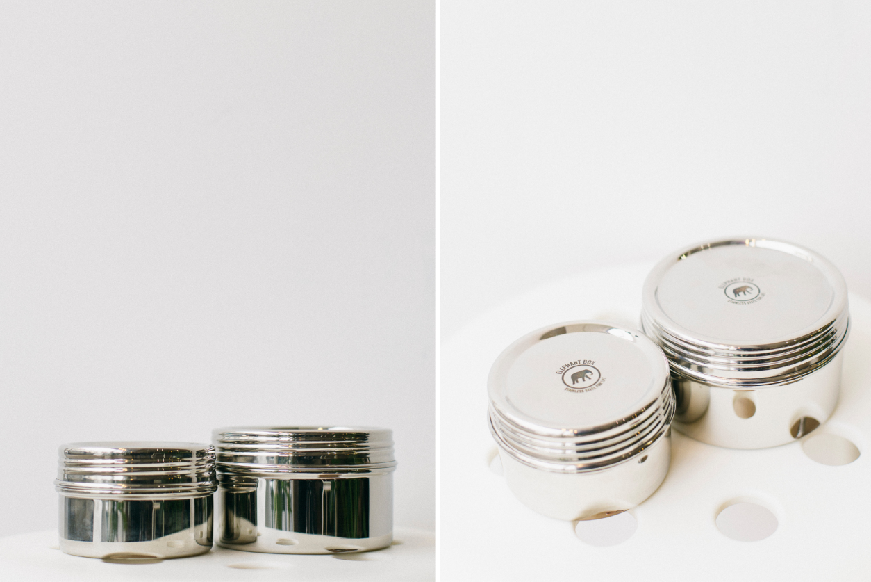 Elephant Box plastic-free reusable food canisters. Small and large canisters. Stainless steel food canisters.
