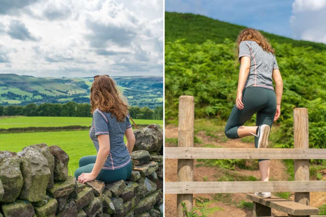 girl-in-workout-gear-sat-on-stone-wall-and-climbing-over-fence