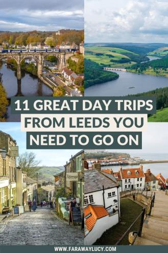 The 9 Great Day Trips from Leeds You Need to Go On. Leeds England UK. The Yorkshire Dales. Manchester. Peak District National Park. Knaresborough. Ilkley. Whitby and Robin Hood's Bay. York. Haworth. Scarborough. Leeds city. Yorkshire England. England travel guide. England travel blog. England travel countryside. England travel itinerary. England travel tips. Click through to read more...