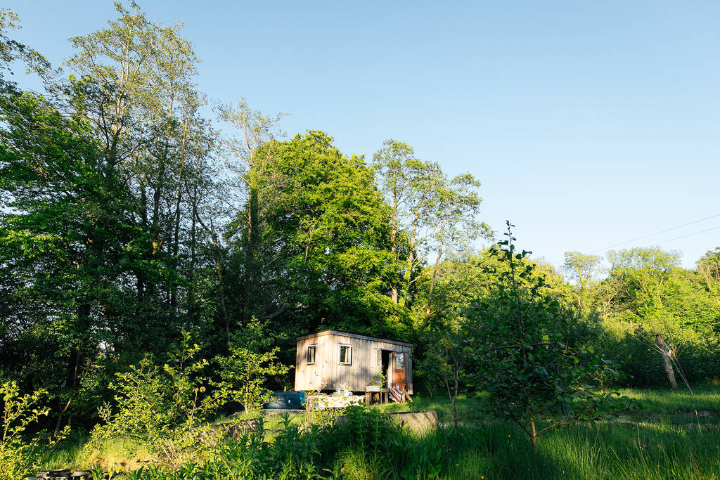 shepherds-hut-the-charcoal-hut-in-green-grassy-field-in-front-of-tall-trees-llandovery-carmarthenshire