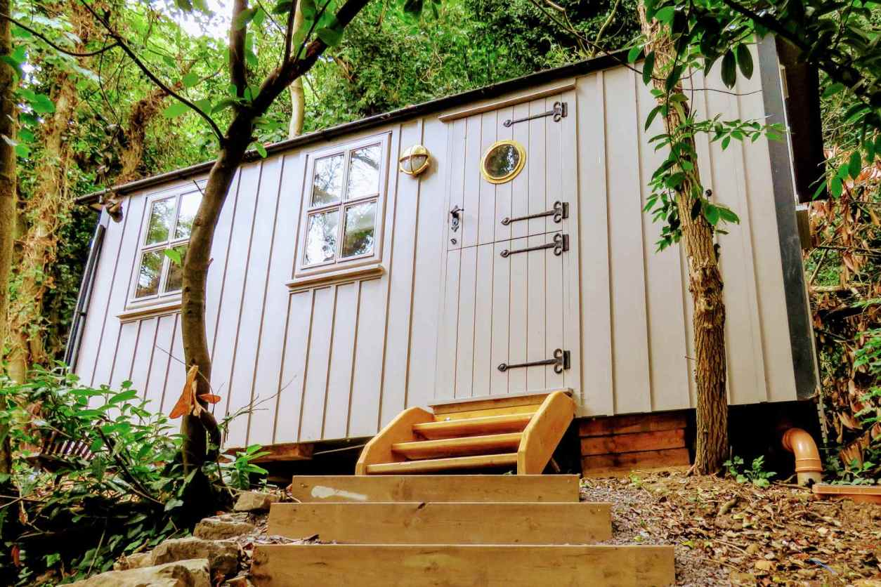 steps-leading-up-to-the-old-mill-shepherds-hut-amid-trees-glamping-with-hot-tub-ireland