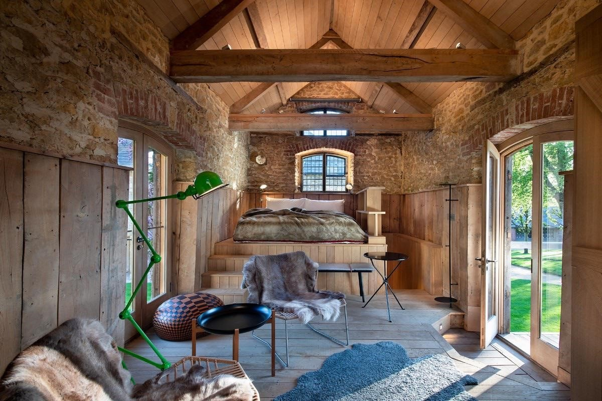 elevated-bed-in-small-granary-cabin-in-the-newt-somerset-somerset-glamping