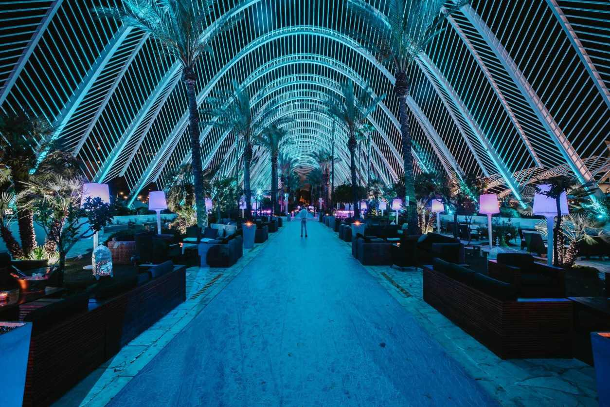 entrance-tomya-club-at-city-of-arts-and-sciences-lit-up-in-blue-at-night-2-days-in-valencia-itinerary