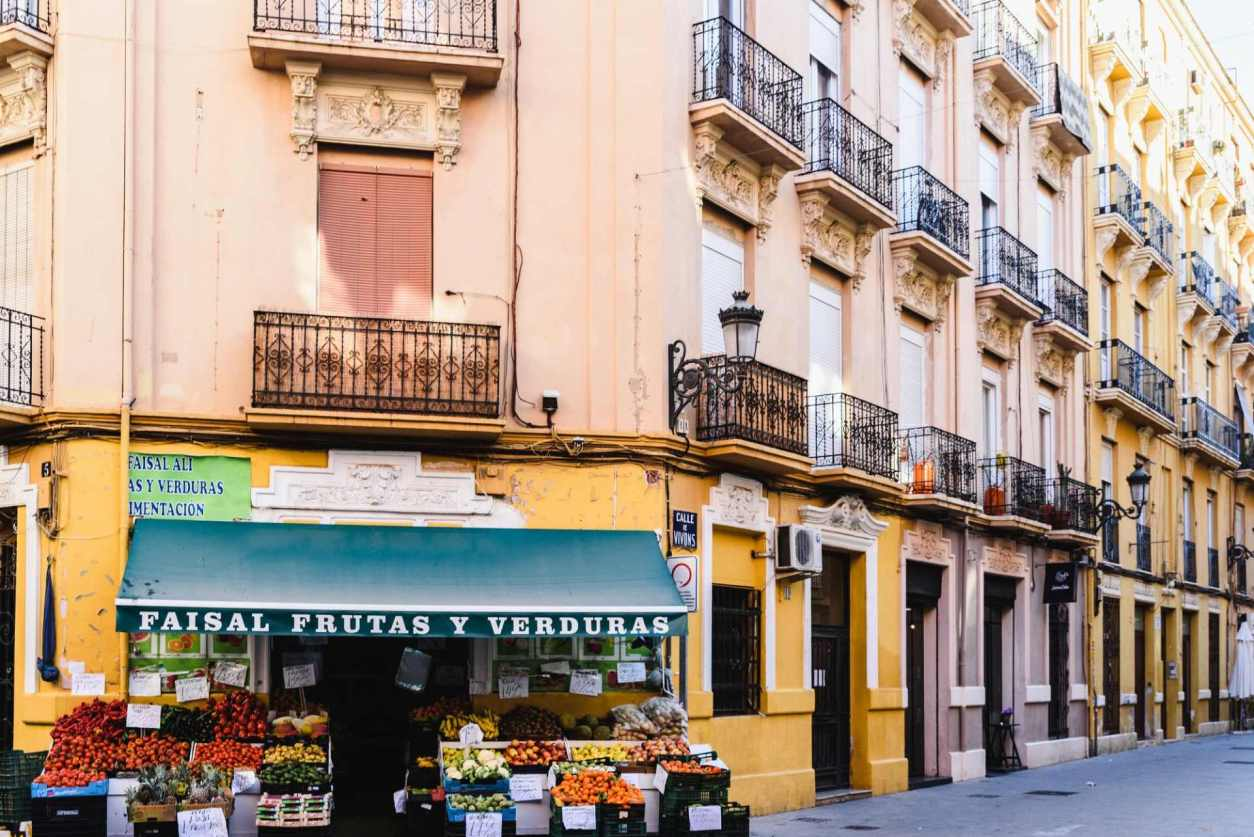 fruit-and-vegetable-shop-in-a-tourist-street-in-colourful-ruzafa-neighborhood-2-days-in-valencia-itinerary