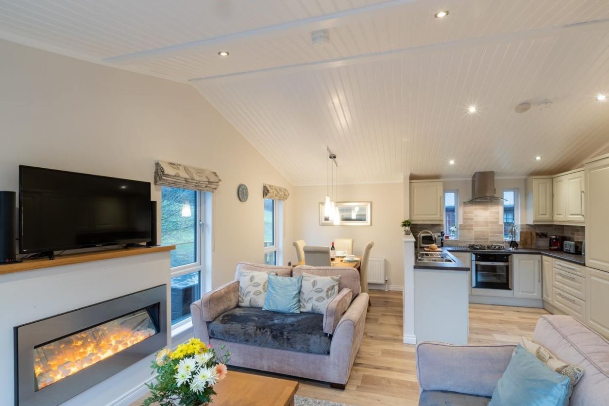 modern-living-and-kitchen-area-in-comraich-lodge-in-limefitt-holiday-park