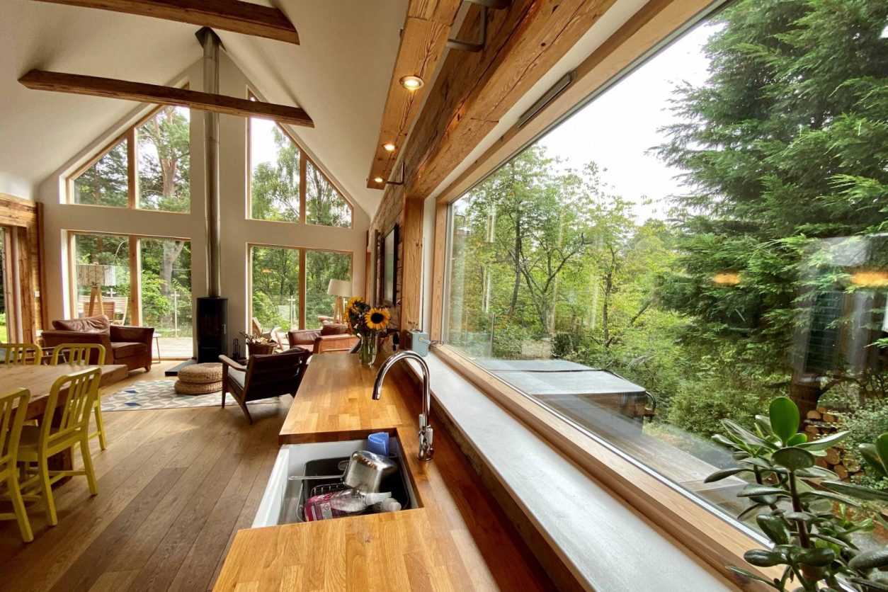open-plan-living-and-kitchen-area-of-an-cala-cottage-lodges-with-hot-tubs-scotland