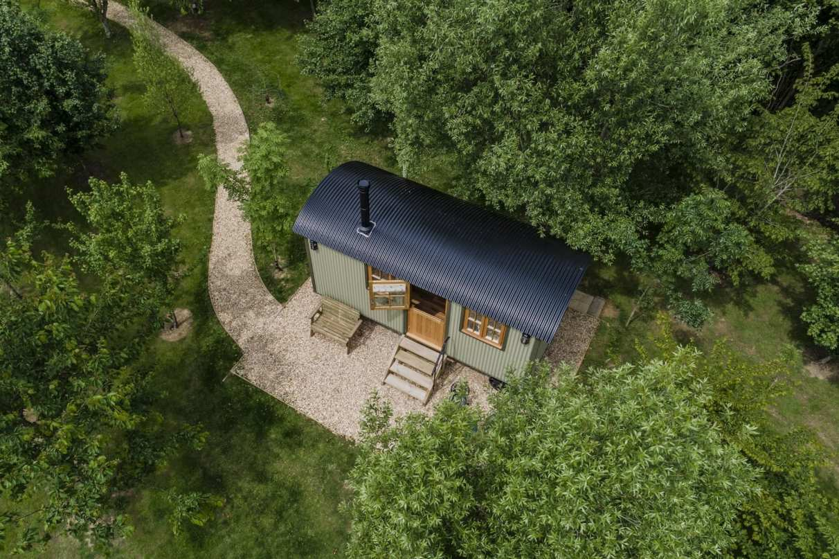 aerial-view-of-jessie-shepherds-hut-amid-trees
