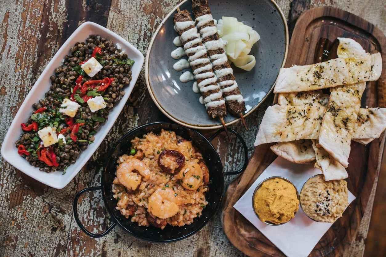 bowls-of-spanish-tapas-at-baresca-restaurant-vegan-restaurants-nottingham