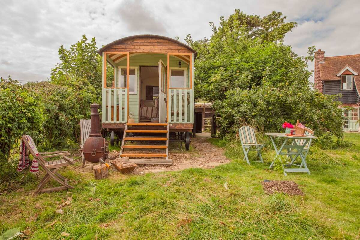 exterior-of-mint-yellow-and-wood-shepherds-hut-in-field