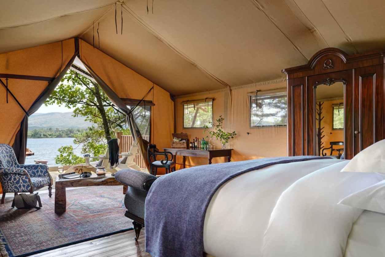 interior-of-dromquinn-manor-safari-tent-overlooking-lake-glamping-kerry